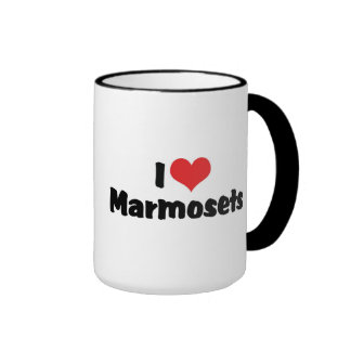 I Love Heart Marmosets Ringer Coffee Mug