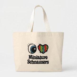 I Love (Heart) Minature Schnauzers Large Tote Bag
