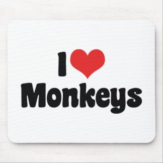 I Love Heart Monkeys Mouse Pad