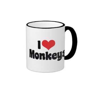 I Love Heart Monkeys Ringer Coffee Mug