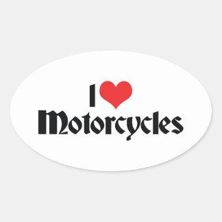 I Love Heart Motorcycles Oval Sticker