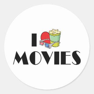 I Love Heart Movies - Movie Lover Round Sticker