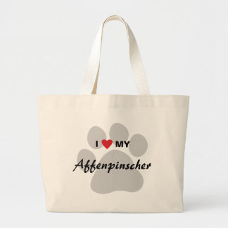 I Love (Heart) My Affenpinscher Paw Print Large Tote Bag