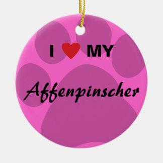 I Love (Heart) My Affenpinscher Paw Print Round Ceramic Ornament