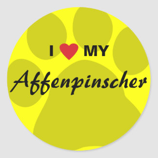 I Love (Heart) My Affenpinscher Paw Print Round Sticker