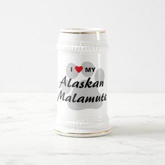 I Love (Heart) My Alaskan Malamute Beer Stein