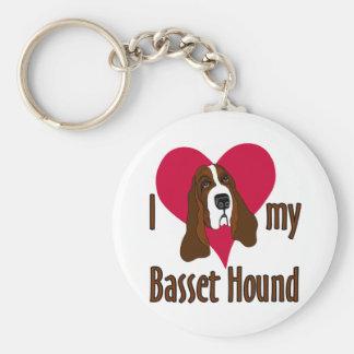 I Love [heart] my Basset Hound Keychain