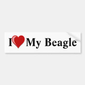 I Love (Heart) My Beagle Dog Bumper Sticker