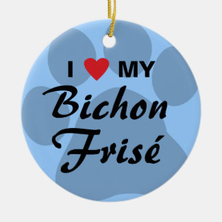 I Love (Heart) My Bichon Frise Round Ceramic Ornament