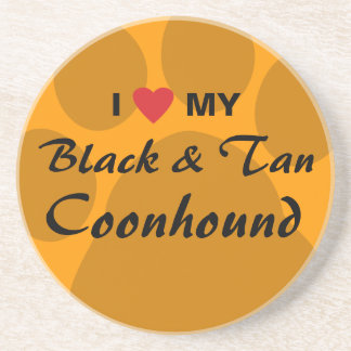 I Love (Heart) My Black and Tan Coonhound Coasters