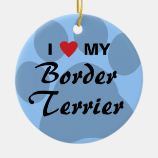 I Love (Heart) My Border Terrier Round Ceramic Ornament