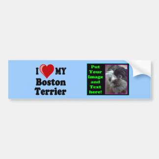 I Love (Heart) My Boston Terrier Dog Bumper Sticker