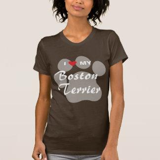 I Love (Heart) My Boston Terrier Pawprint Tshirts