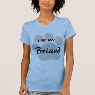 I Love (Heart) My Briard Pawprint T-Shirt