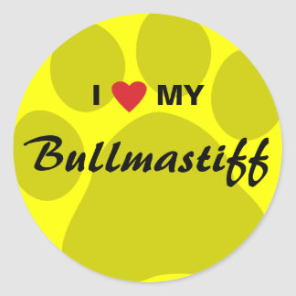 I Love (Heart) My Bullmastiff Pawprint Round Sticker