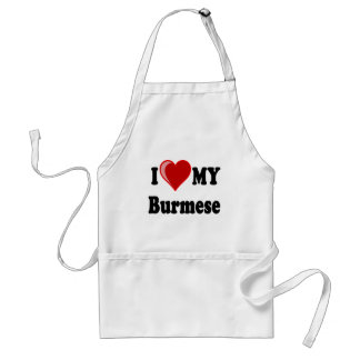 I Love (Heart) My Burmese Cat Standard Apron