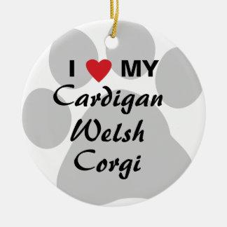 I Love (Heart) My Cardigan Welsh Corgi Round Ceramic Ornament