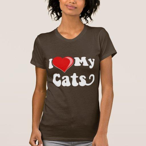I Love (Heart) My Cats Shirts