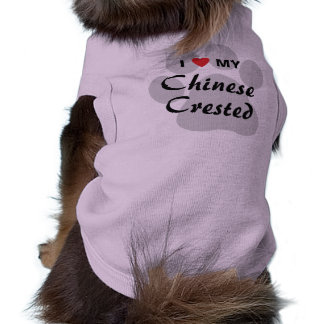 I Love (Heart) My Chinese Crested Doggie Tshirt