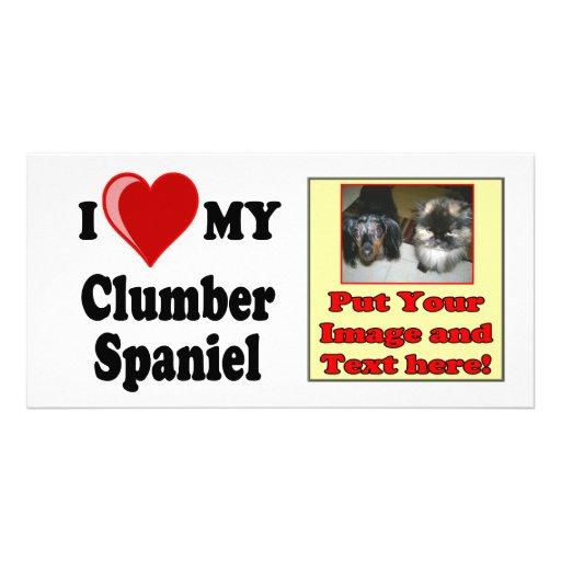 I Love (Heart) My Clumber Spaniel Dog Photo Cards