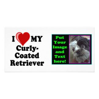I Love (Heart) My Curly-Coated Retriever Dog Customized Photo Card