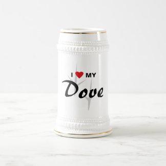 I Love (Heart) My Dove Bird Tracks Design 18 Oz Beer Stein