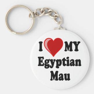 I Love (Heart) My Egyptian Mau Cat Keychain