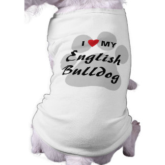 I Love (Heart) My English Bulldog Pawprint Dog Shirt