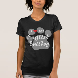 I Love (Heart) My English Bulldog Pawprint Shirts