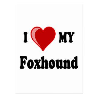 I Love (Heart) My Foxhound Dog Postcard