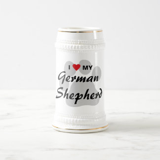 I Love (Heart) My German Shepherd Pawprint Beer Stein