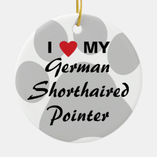 I Love (Heart) My German Shorthaired Pointer Round Ceramic Ornament