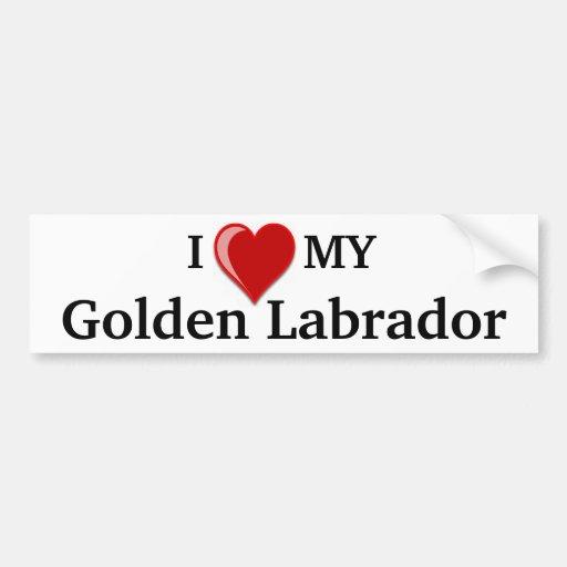I Love (Heart) My Golden Labrador Dog Bumper Stickers