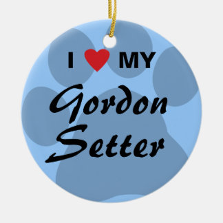 I Love (Heart) My Gordon Setter Round Ceramic Ornament
