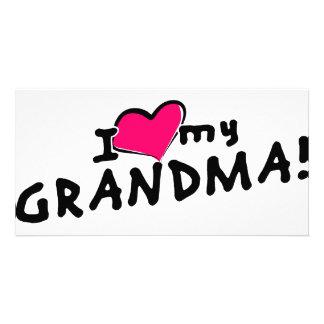 I love (heart) my grandma! personalized photo card