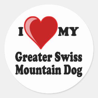 I Love (Heart) My Greater Swiss Mountain Dog Classic Round Sticker