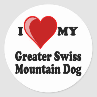 I Love (Heart) My Greater Swiss Mountain Dog Round Sticker