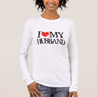 I love heart my husband shirt long sleeve for wife