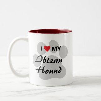 I Love (Heart) My Ibizan Hound Two-Tone Coffee Mug