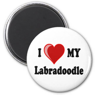 I Love (Heart) My Labradoodle Dog 2 Inch Round Magnet