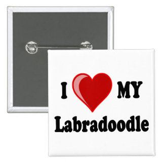 I Love (Heart) My Labradoodle Dog 2 Inch Square Button