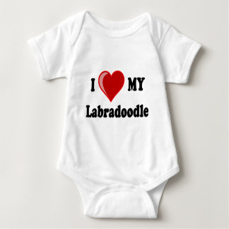 I Love (Heart) My Labradoodle Dog Baby Bodysuit