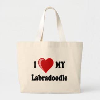 I Love (Heart) My Labradoodle Dog Canvas Bags