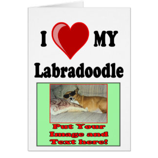 I Love (Heart) My Labradoodle Dog Greeting Cards