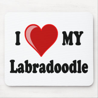 I Love (Heart) My Labradoodle Dog Mouse Pad