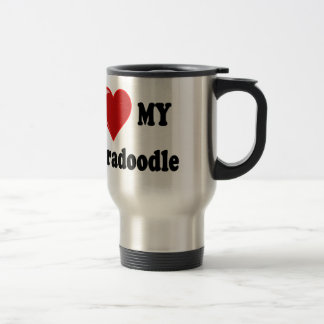 I Love (Heart) My Labradoodle Dog 15 Oz Stainless Steel Travel Mug
