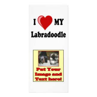 I Love (Heart) My Labradoodle Dog Rack Card Template