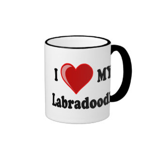 I Love (Heart) My Labradoodle Dog Ringer Coffee Mug
