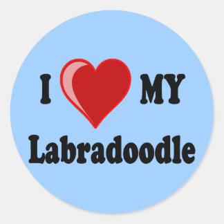 I Love (Heart) My Labradoodle Dog Round Sticker
