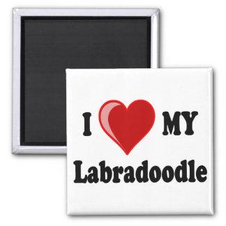 I Love (Heart) My Labradoodle Dog Square Magnet